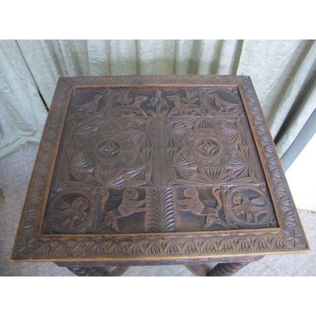 19th Century Heavily Carved Swedish Sewing Table - Image 8 of 8