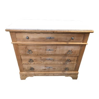 19th Century French Country Louis Philippe Marble Top Commode For Sale