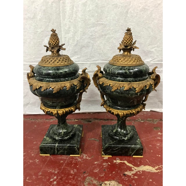 Marble Louis XVI Style Garnitures a Pair For Sale - Image 4 of 6