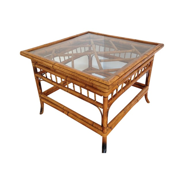 Bamboo Square Table: Vintage Bamboo Glass Top Square Side Table