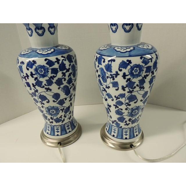 Vintage Blue & White Ceramic Lamps - Pair - Image 5 of 5