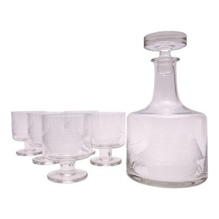 Vintage Clipper Ship Low Ball Glasses and Decanter - Set of 7
