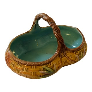 Vintage Majolica Basket For Sale