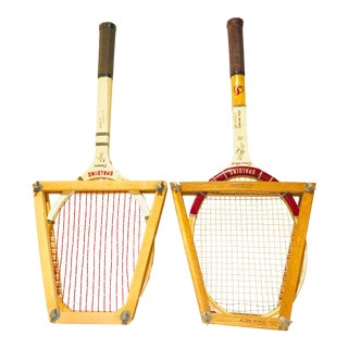 Mid Century Tennis Rackets - a Pair For Sale
