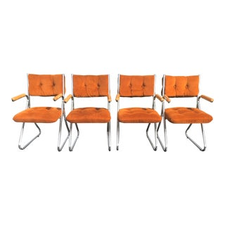 Daystrom Mid Century Vintage Orange Velvet Velour Chairs - Set of 4 For Sale