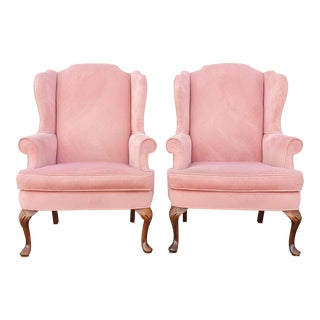Vintage French Provincial Blush Pink Velvet Matching Wingback Chairs - a Pair For Sale