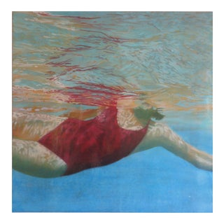Carol Bennett, Manganese, Swimmer, Water, Painting, Red, Blue, Female Figure, Beach, Swimming For Sale
