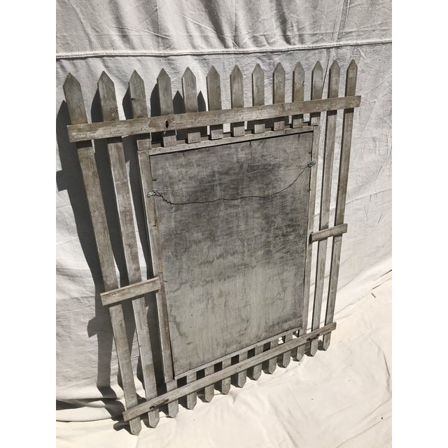 1950s Unique Vintage Picket Fence Style Framed Mirror For Sale - Image 5 of 8
