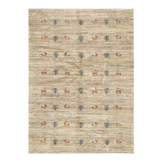 Pasargad Beige Fine Hand Knotted Persian Gabbeh Rug- 3' X 5' For Sale