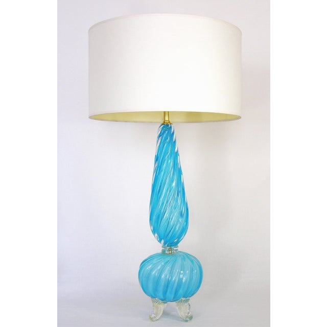 Barovier & Toso Blue and Gold Italian Murano Glass Mid-Century Modern Table Lamps Venetian Italy- a Pair Millennial For Sale - Image 11 of 11