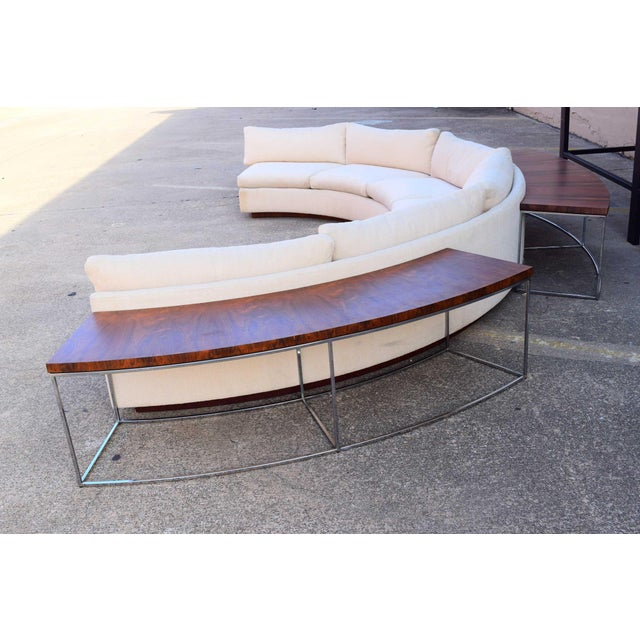 Milo Baughman Semi-Circular Sofa With Rosewood Tables For Sale - Image 12 of 13