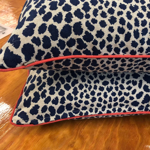 Navy Blue Contemporary Square Animal Print Pillows - a Pair For Sale - Image 8 of 11