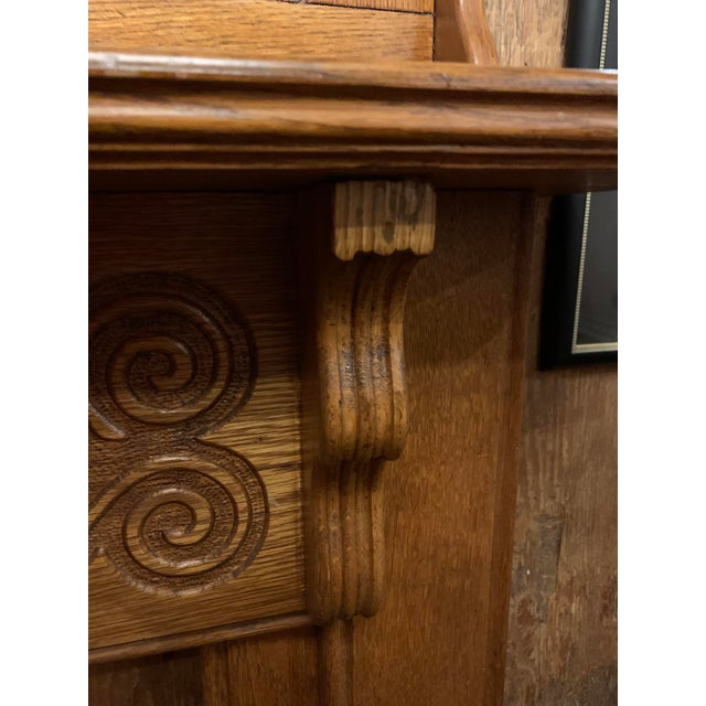 Wood 1910s Victorian Oak Fireplace Mantel For Sale - Image 7 of 10