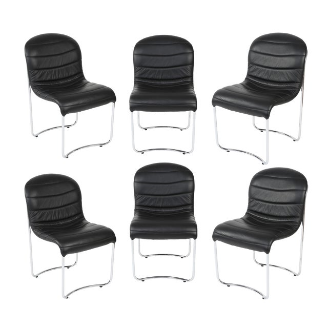 1980's VINTAGE CHROME AND VINYL DINING CHAIRS- SET OF 6 For Sale