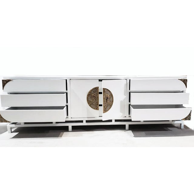 Metal White Lacquered Console/Credenza With Brass Asian Motif Accents For Sale - Image 7 of 10