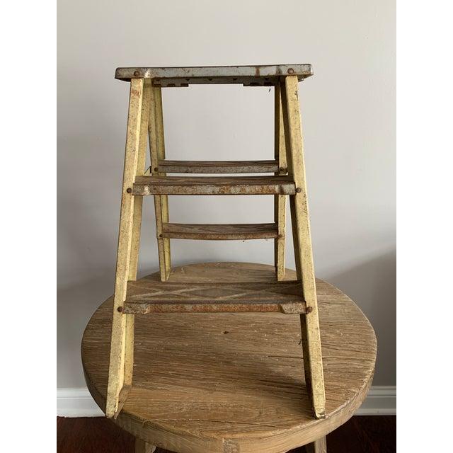 1940s Vintage Industrial Metal Step Ladder For Sale - Image 10 of 11