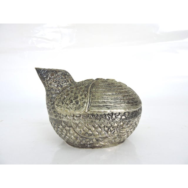 Anglo-Indian Vintage South East Asian Silver Bird Catchall/Box For Sale - Image 3 of 7