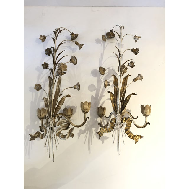 Gold Gilt Iron Carved Wood French Tulip Motife Candle Sconces -Pair For Sale - Image 12 of 13