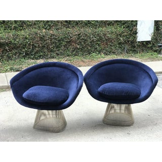 Vintage Platner Chairs in Navy Blue Velvet - a Pair Preview
