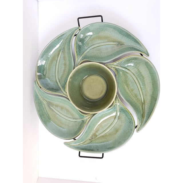 American Atelier Banana Leaf Stoneware Serving Tray For Sale - Image 4 of 13