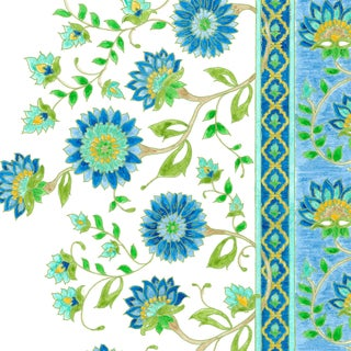 Ferran Indianas Fabric, Sample, Lapis in French Cotton Twill For Sale