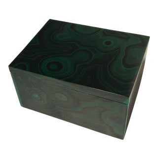 Italian Green Malachite Box For Sale