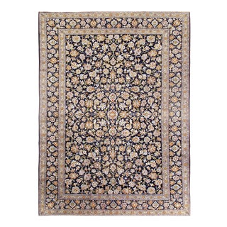 Pasagad Semi-Antique Kashan Hand-Knotted Rug - 10′ × 14′ For Sale