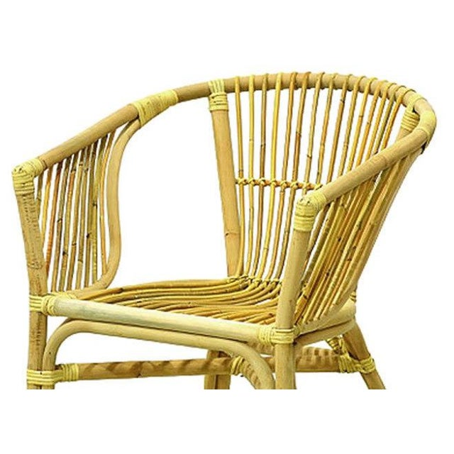 Julia Rattan Armchair From Indonesia. 23 inches wide, 23 inches deep, 30 inches high.