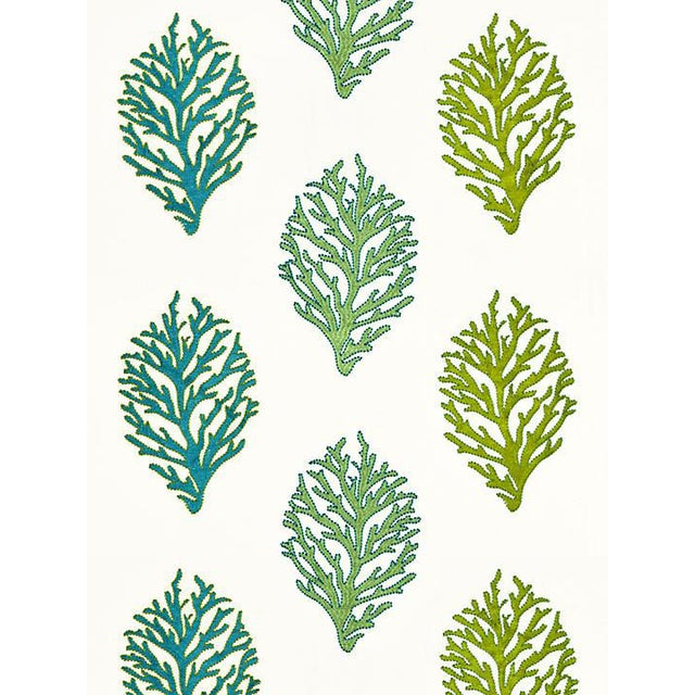 Sample, Scalamandre Coral Reef Embroidery, Seagrass Fabric For Sale