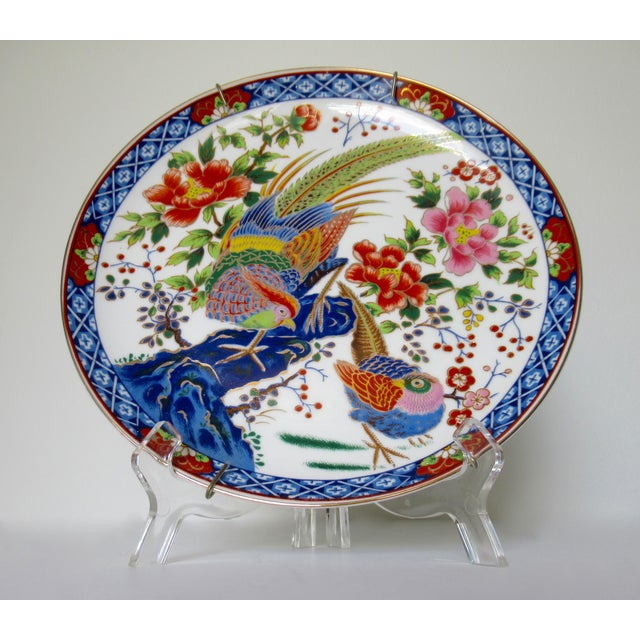 Vintage Hand-Painted Porcelain Japanese Imari Decorative Wall Plate For Sale - Image 13 of 13