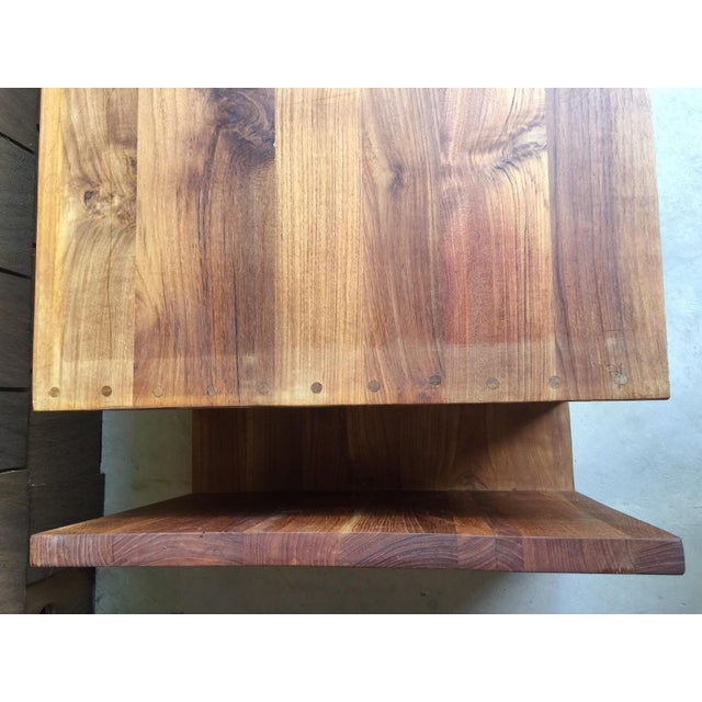 1960s Vintage Walnut Bench With Magazine Holder For Sale - Image 4 of 11