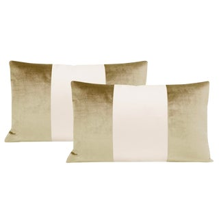 "12""x18"" Champagne Velvet & Alabaster Silk Panel Lumbar Pillows - a Pair For Sale"