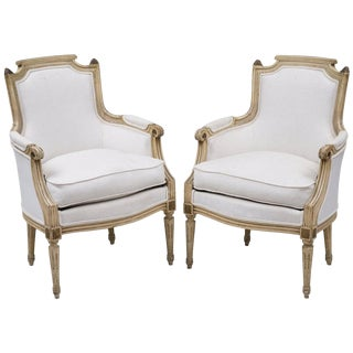 Pair of French Louis XVI Style Bergères For Sale