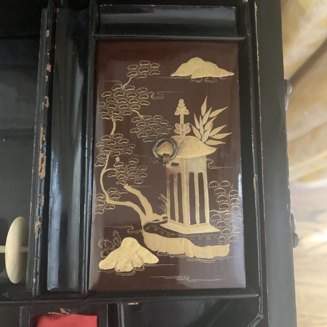 Antique Chinese Iron Red Lacquered Sewing Box on Feet With Drawer For Sale - Image 10 of 12