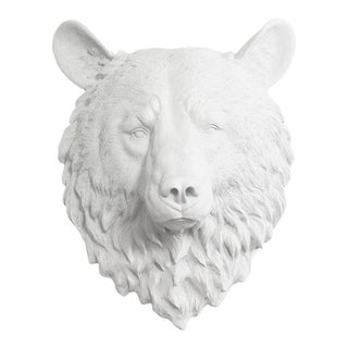 Wall Charmers White On White Faux Taxidermy Bear Mount For Sale