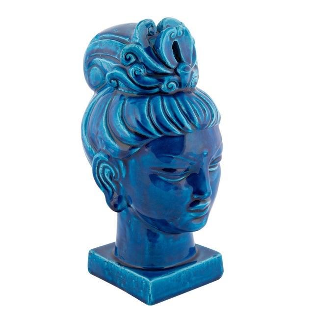 """Rimini Blu"" Ceramic Guan Yin Bust by Aldo Londi for Bitossi, Circa 1960s For Sale - Image 13 of 13"