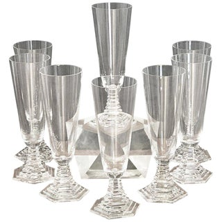 """Eight Art Deco Baccarat """"Orsay"""" Champagne Flutes For Sale"""