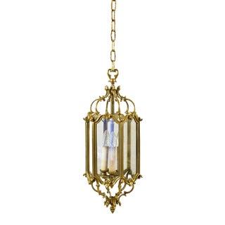 1940s Bronze & Glass 3 Lights Lantern Chandelier For Sale
