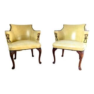 Dorothy Draper Style Mahogany Hollywood Regency Chairs For Sale