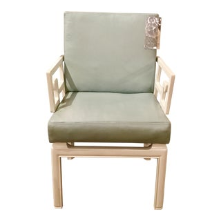 Global Views Modern White and Blue Leather Greek Key Arm Chair For Sale