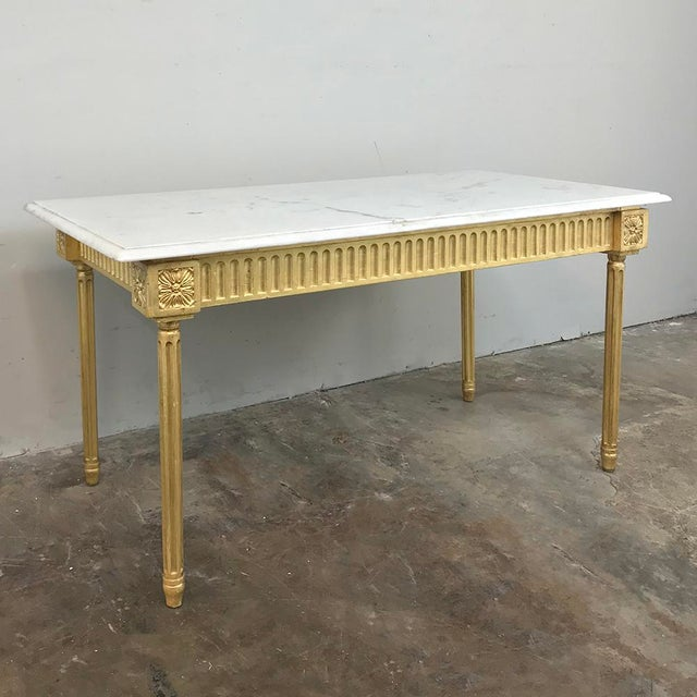 French Antique French Louis XVI Gilded Marble Top Coffee Table For Sale - Image 3 of 11
