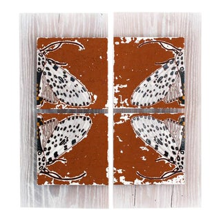 """Appaloosa Wings"" Tile Art Wall Hanging of Leopard Moth For Sale"