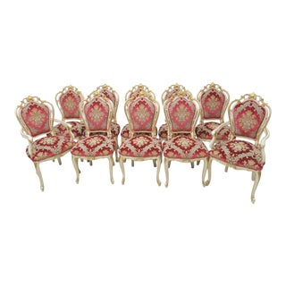 Italian Carved Cream & Gold Dining Chairs - Set of 10