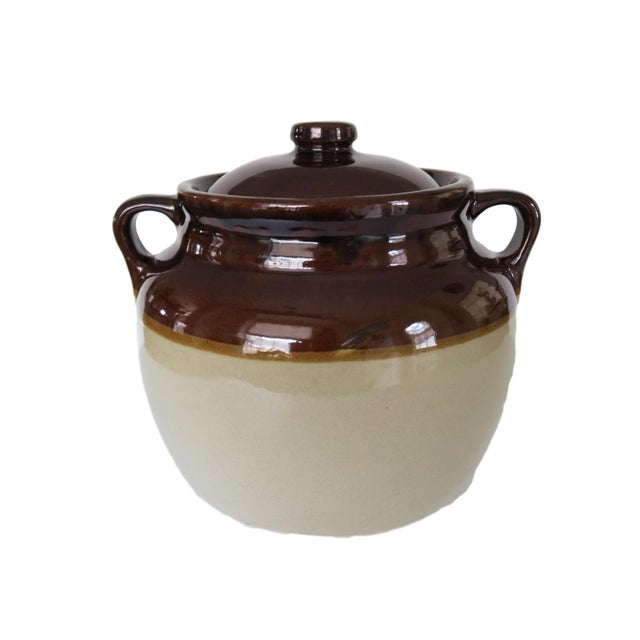 1950s Antique Western Stoneware Brown and White Glazed Crock Stoneware Jug With Double Handles and Lid For Sale - Image 5 of 5