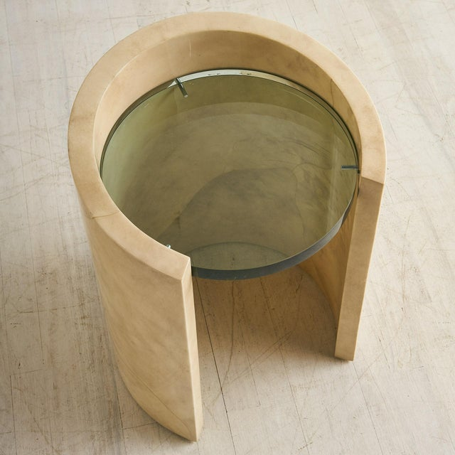 Glass 1970s Lacquered Parchment Side Table by Ron Seff For Sale - Image 7 of 8