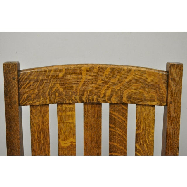 Harden Furniture Early 20th Century Harden Mission Oak Arts & Crafts Stickley Style Rocking Chair Rocker Armchair For Sale - Image 4 of 13