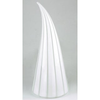 Murano Glass White & Clear Striped Art Glass Lamp Preview