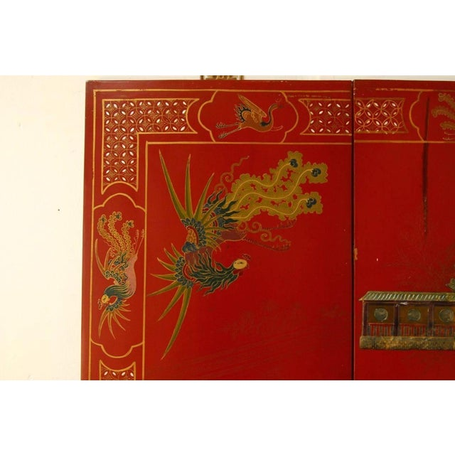 Chinese Hard-Stone & Red Lacquer Screen - Image 3 of 10
