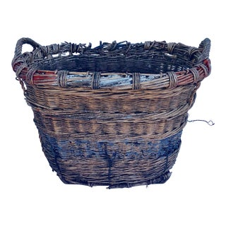 1930s French Champagne Wicker Harvest Basket For Sale