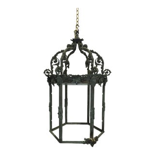 Antique French Bronze Lantern For Sale